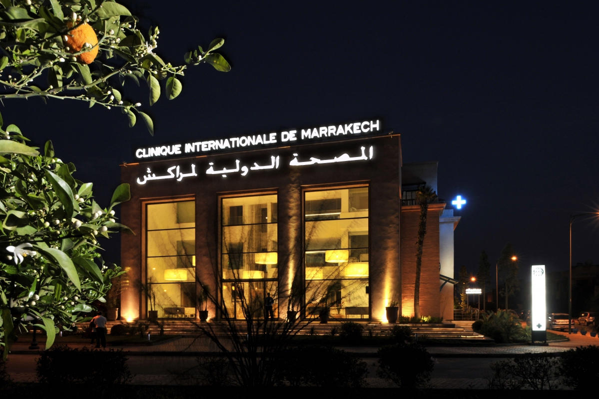 Clinique Internationale de Marrakech, l'un des établissements du groupe Cliniques Internationales du Maroc ; créée en 2011 elle comprend cent lits et cinq blocs opératoires. - ©CIM Santé