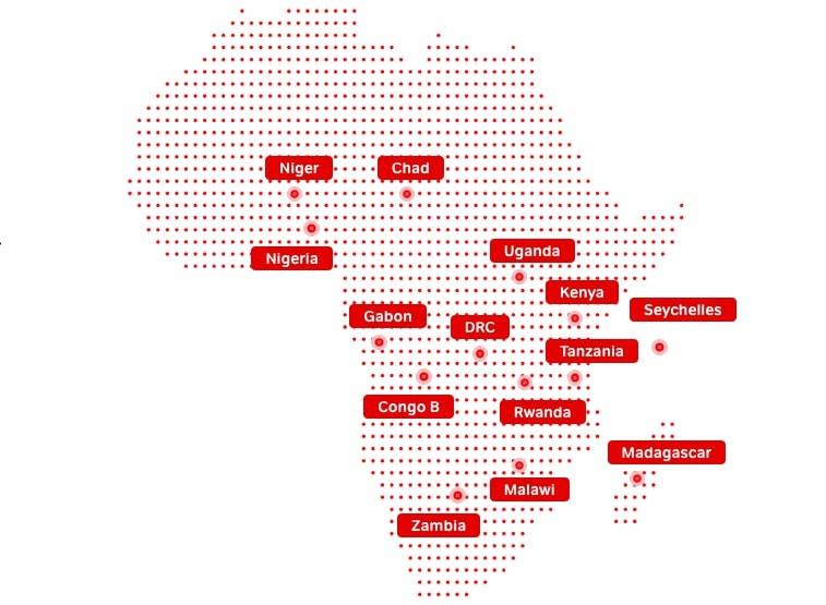 Présence d'Airtel Africa sur le continent africain - Airtel Africa