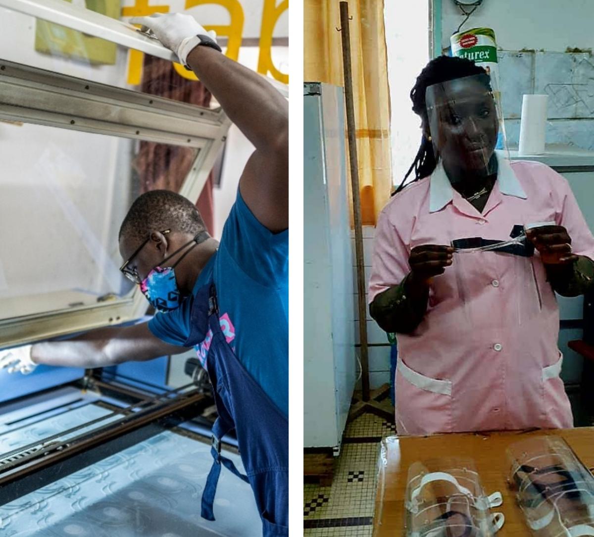 Au Sénégal, Eiffage acquiert des visières plexi de protection contre le covid-19 fabriqués localement par le FabLab Ker Thiossane.