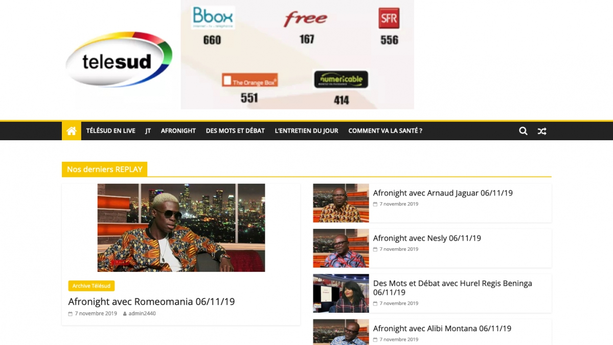 Capture d'écran de la page d'accueil du site de la chaîne télévisée panafricaine Télésud, liquidée par le tribunal de commerce de Paris en novembre 2019.